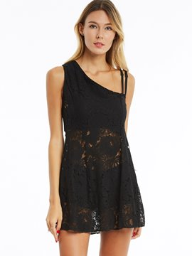 Oblique Collar Plain Lace Dress