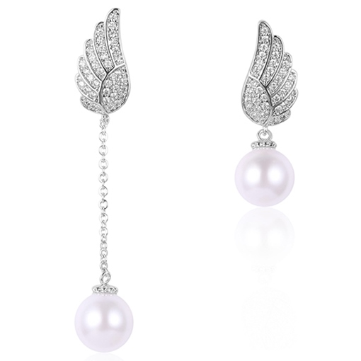 Ericdress Asymmetric Angel's Wings Design Pearl Earrings