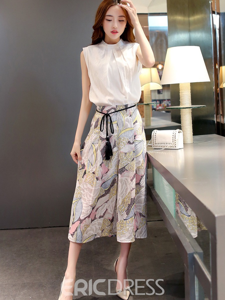 Ericdress Stand Collar Sleeveless Tassel Lace-Up Floral Wide Legs Suit 12754752
