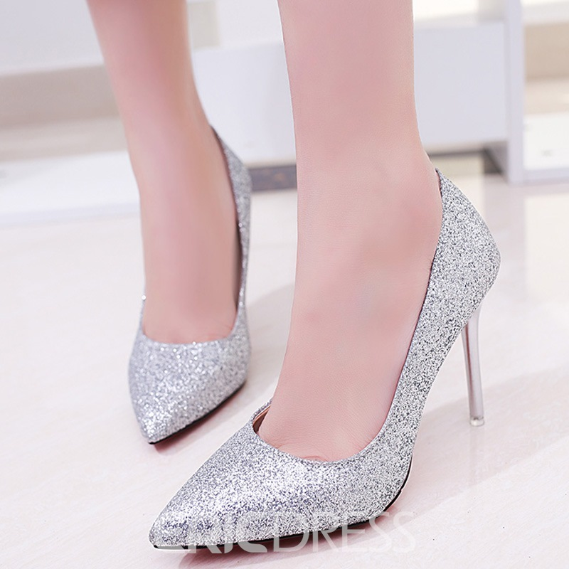 Ericdress Bling Sequins Point Toe Stiletto Heel Pumps
