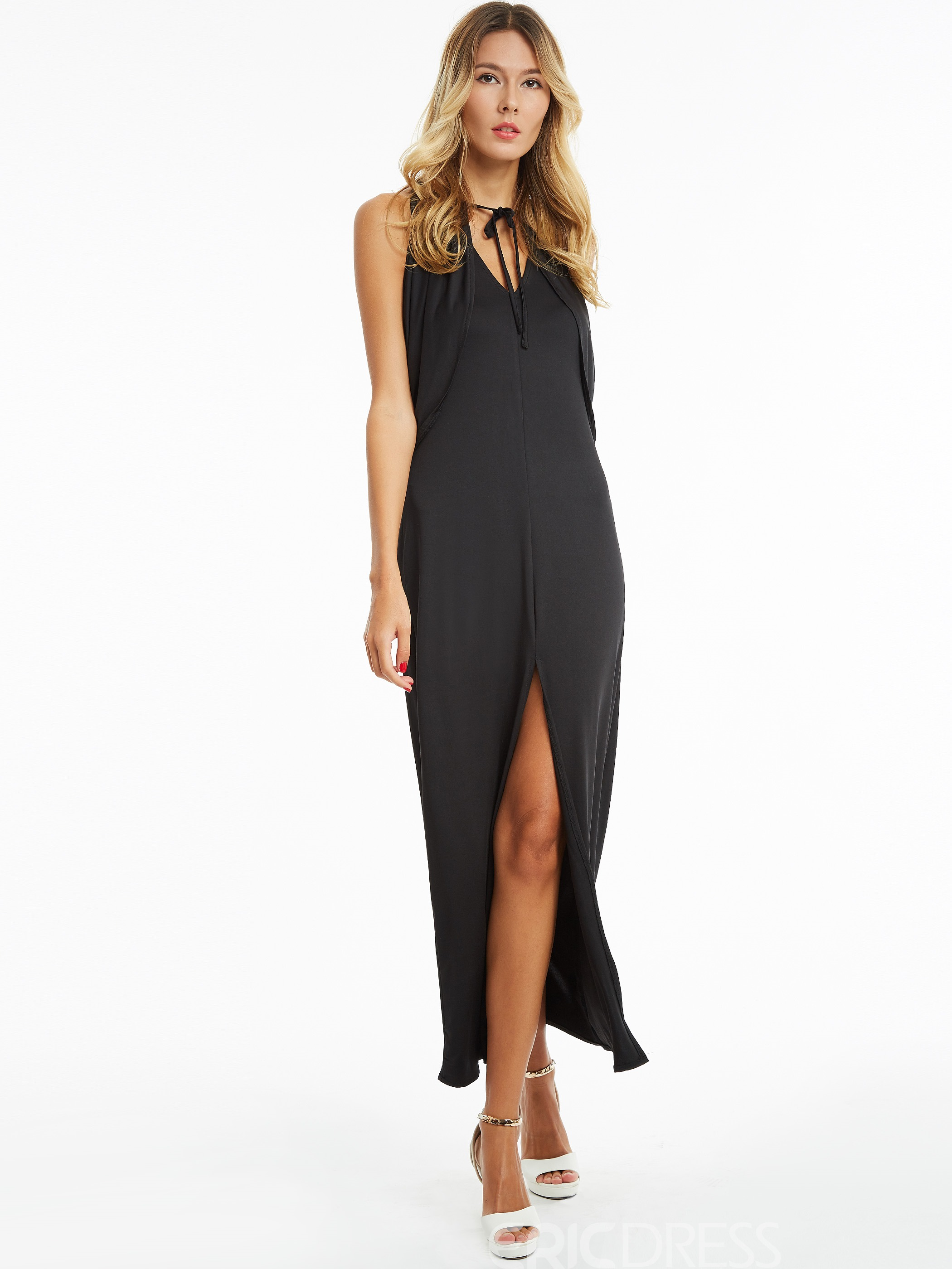 Ericdress V-Neck Batwing Sleeve Backless Maxi Dress