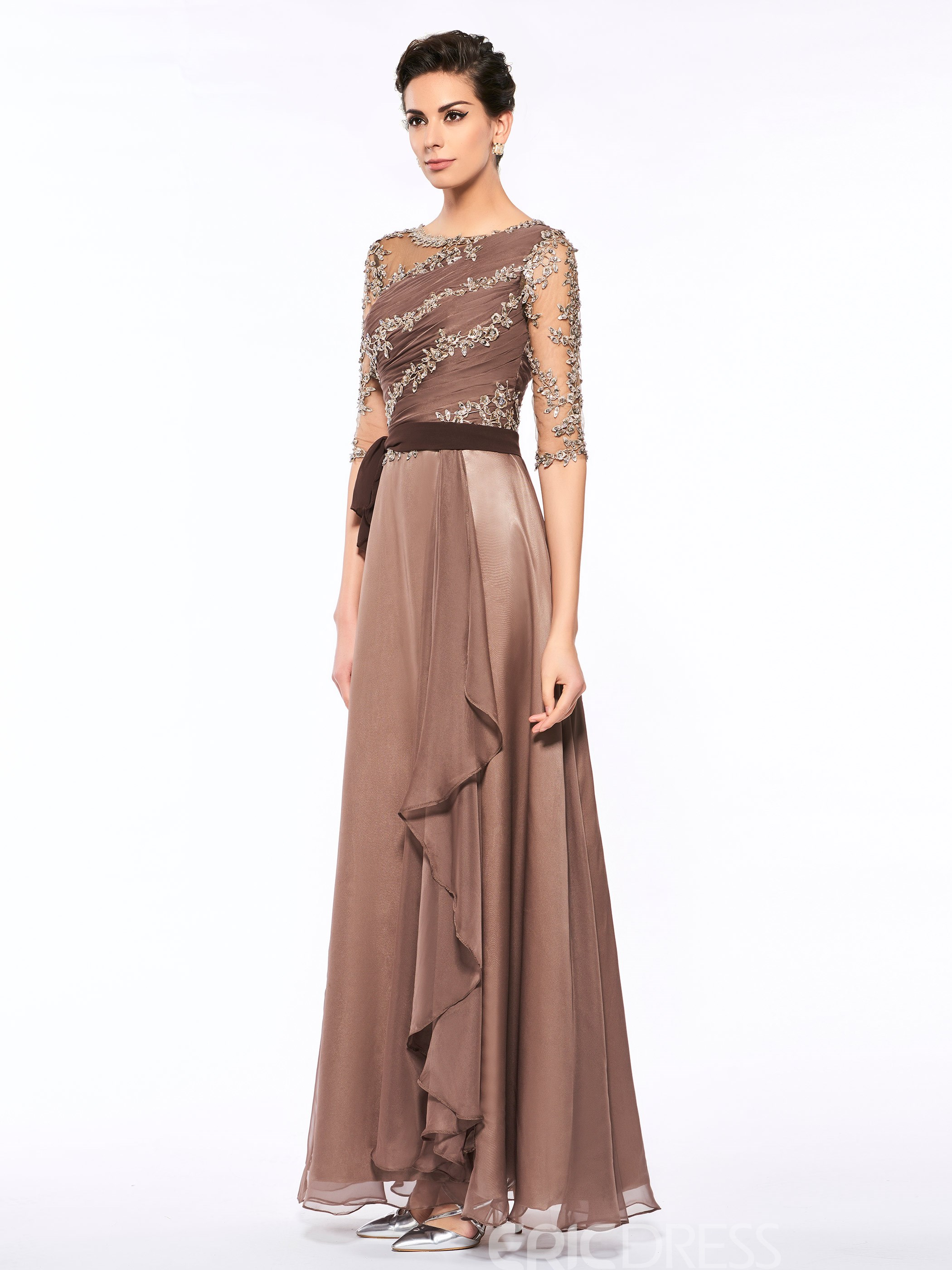 Ericdress A Line Half Sleeves Long Scoop Appliques Mother Of The Bride Dress