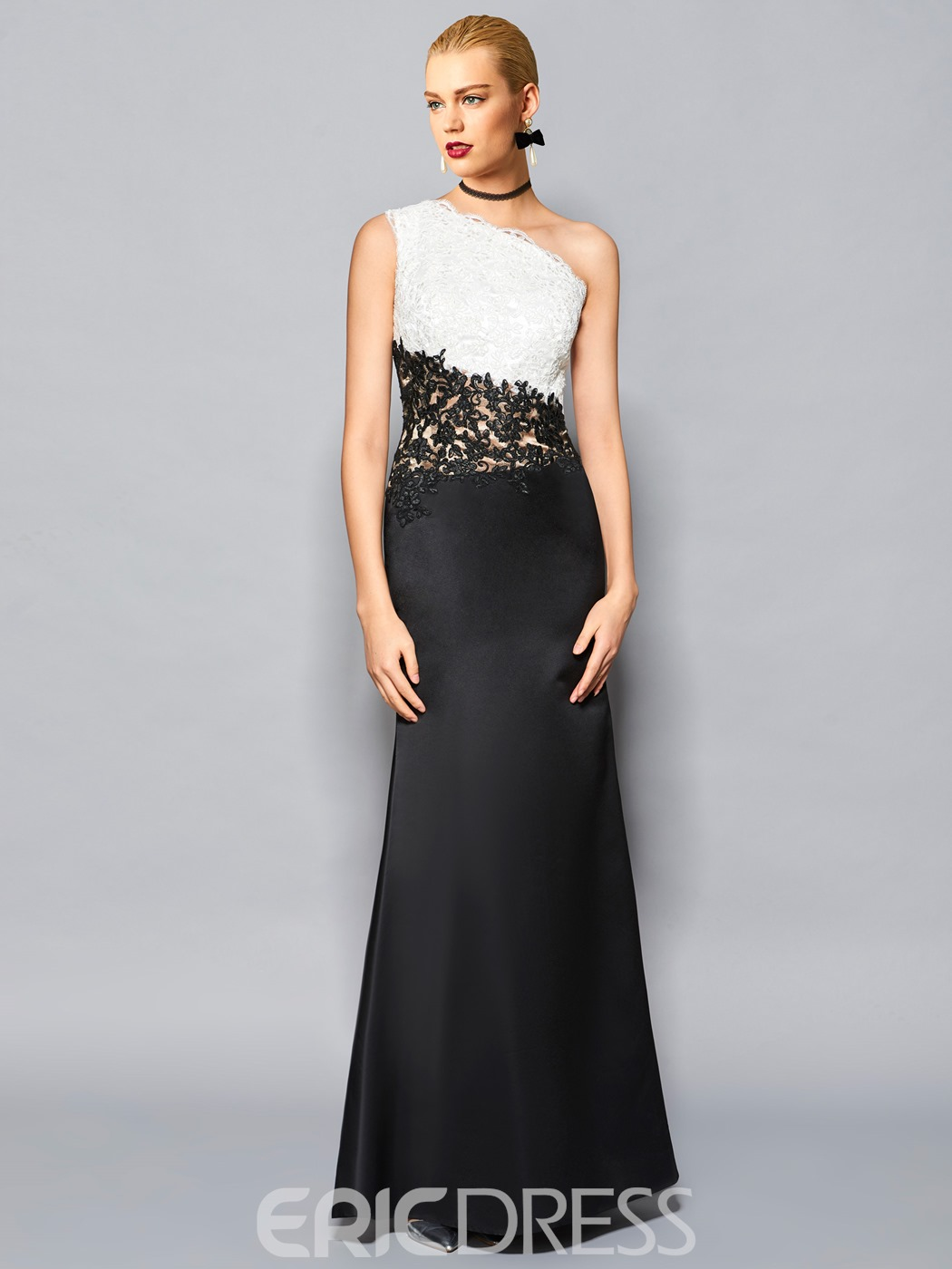 Ericdress Fancy Sheath One Shoulder Lace Applique Floor Length Evening Dress