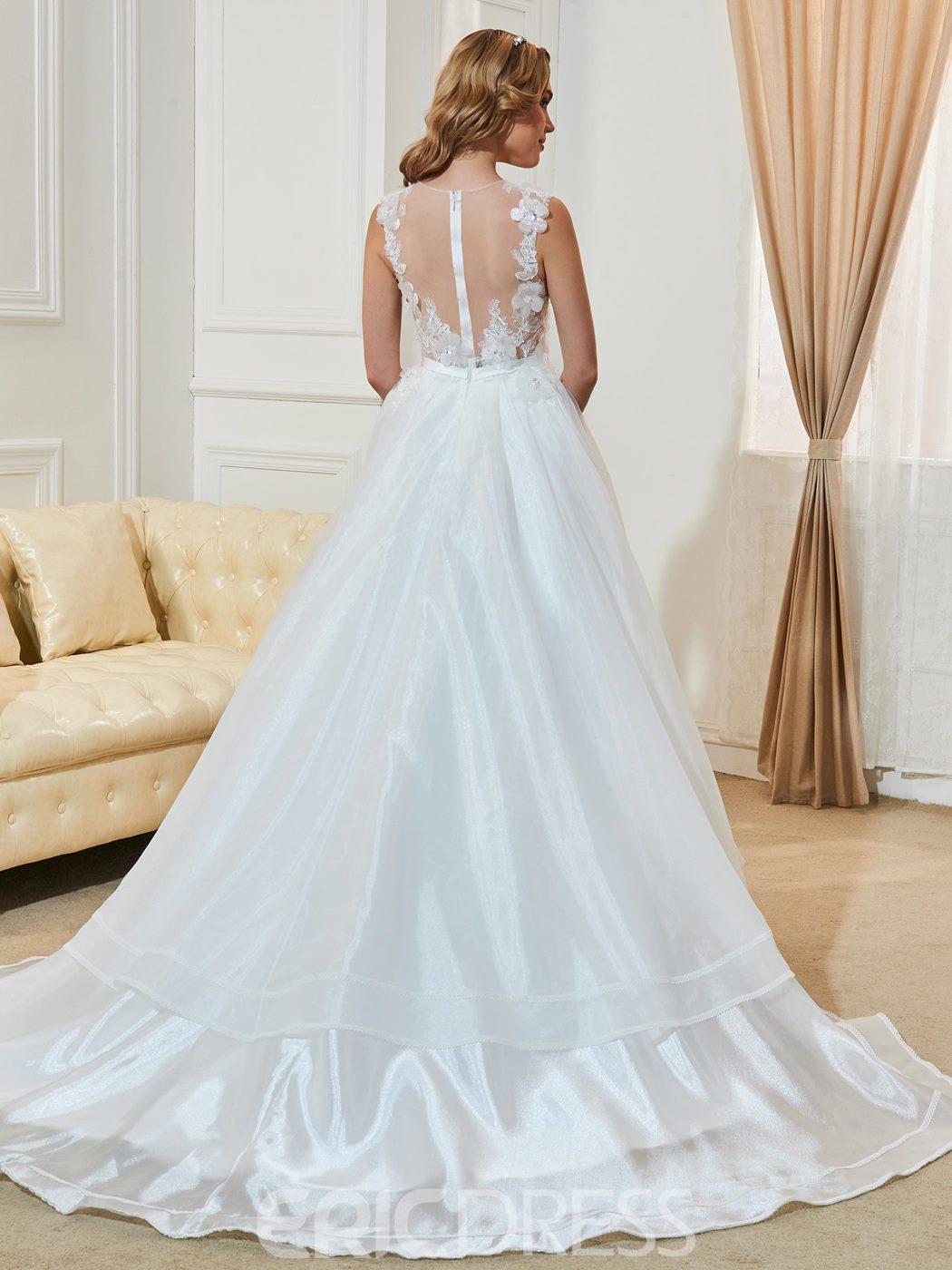 Ericdress Charming Appliques Scoop Backless A Line Wedding Dress