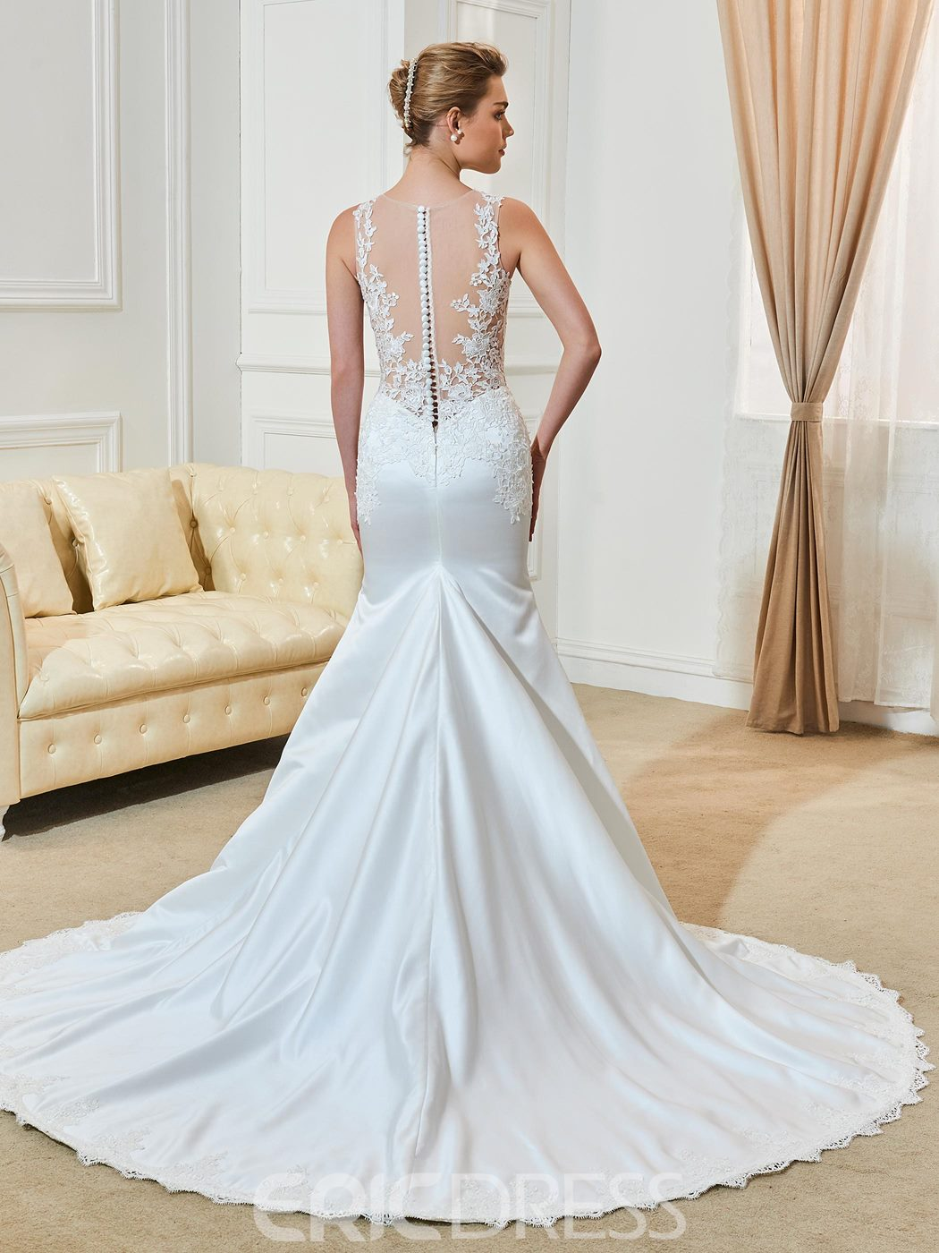 Ericdress Beautiful Scoop Appliques Illusion Back Mermaid Wedding Dress