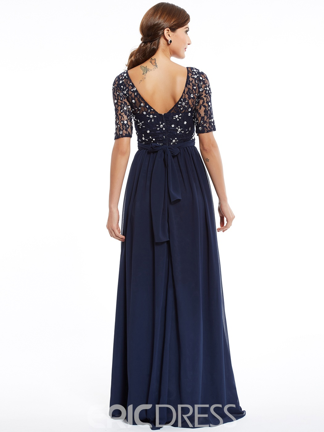 Ericdress A Line Half Sleeves Beaded Evening Dress In Floor Length