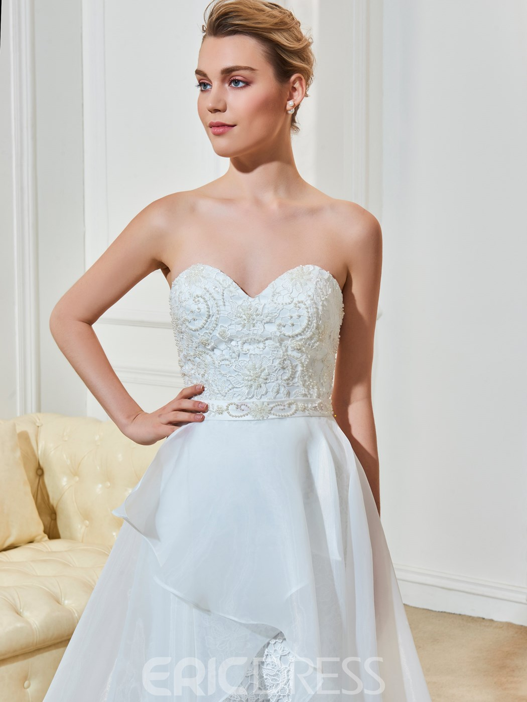 Ericdress Sweetheart A Line Beaded Lace Wedding Dress