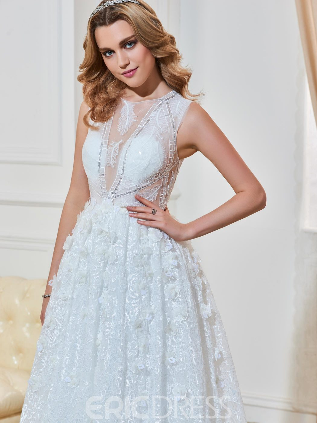 Ericdress Charming Scoop Illusion Back A Line Lace Wedding Dress