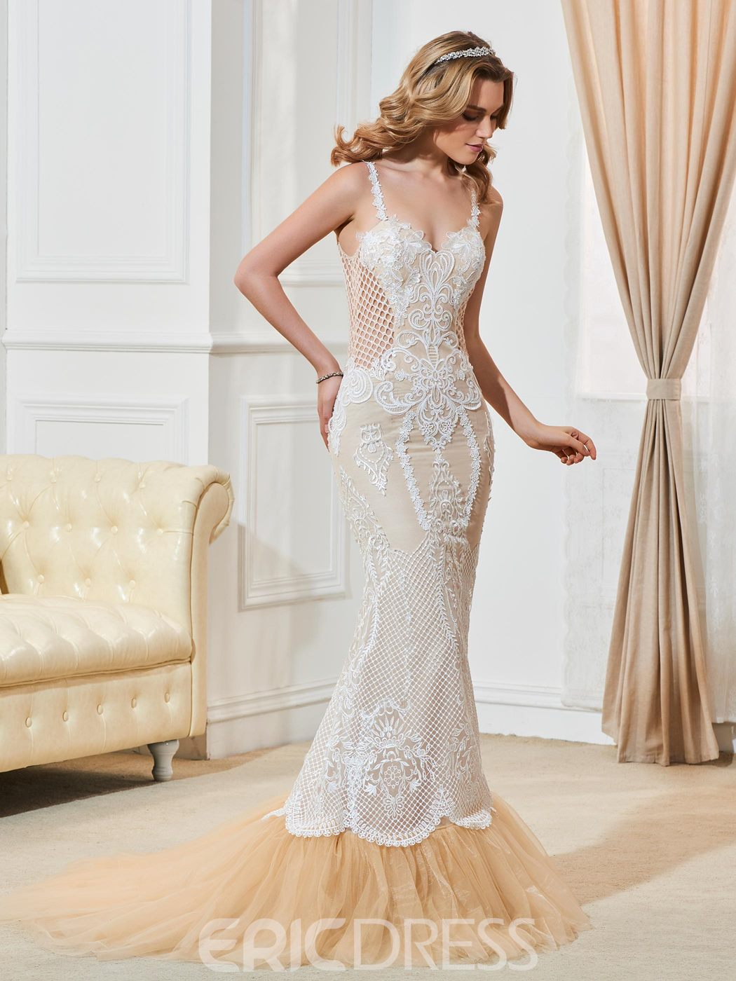 Ericdress Beautiful Spaghetti Straps Backless Mermaid Lace Wedding Dress