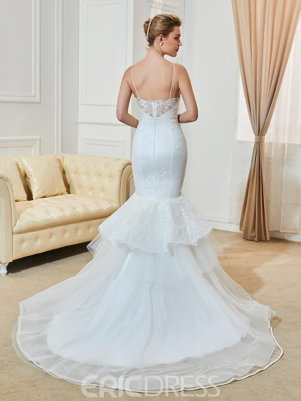 Ericdress Fashionable Spaghetti Straps Appliques Mermaid Wedding Dress