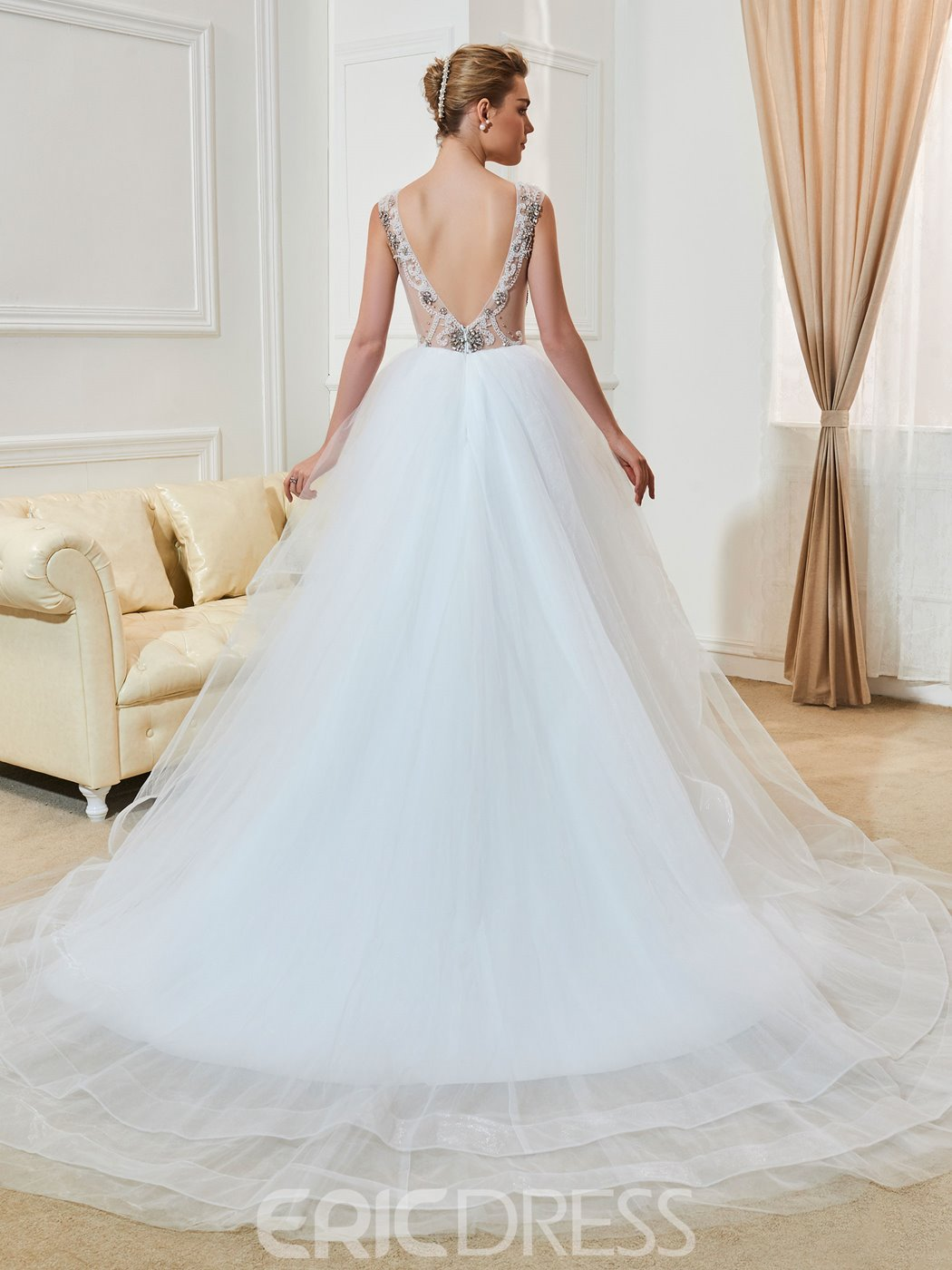 Ericdress Sexy V Neck Backless A Line Wedding Dress