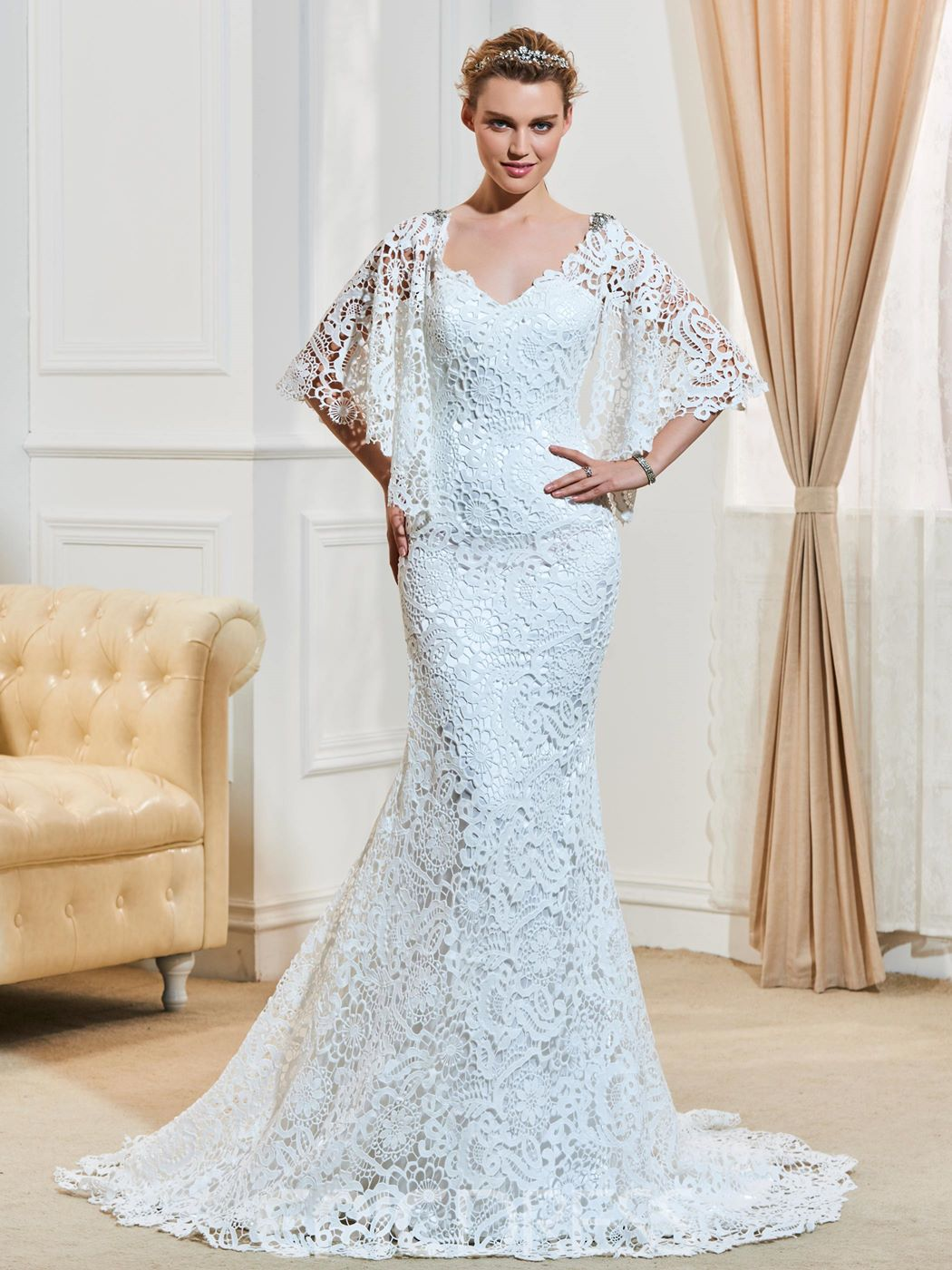 Ericdress Charming V Neck Beaded Backless Mermaid Lace Wedding Dress