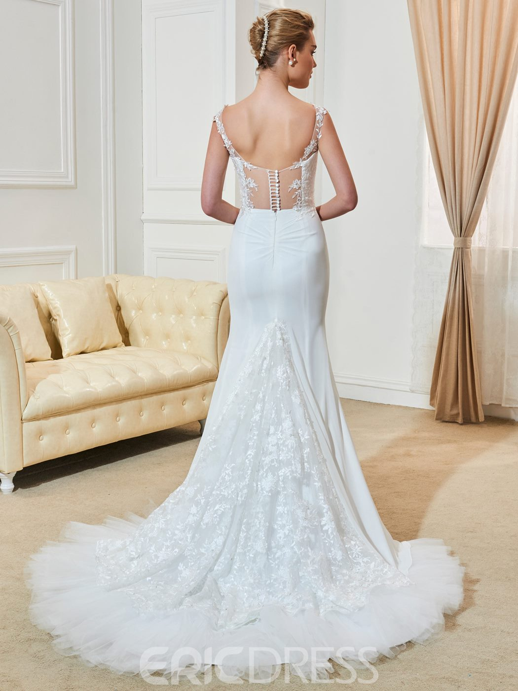 Ericdress Straps Mermaid Lace Wedding Dress