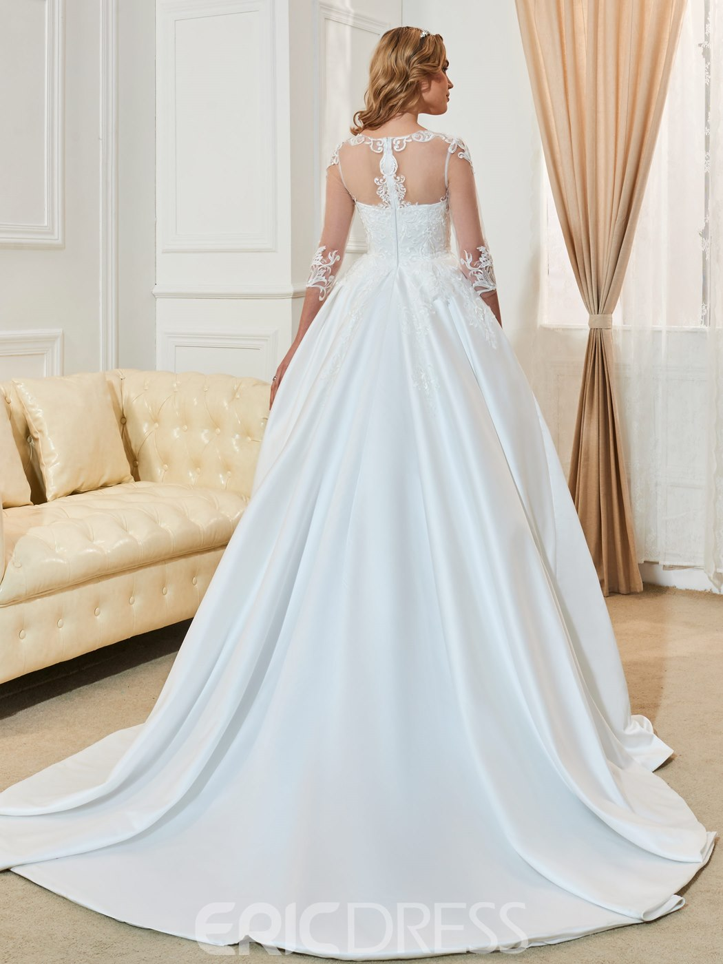 Ericdress Scoop Appliques 3/4 Length Sleeves Ball Gown Wedding Dress