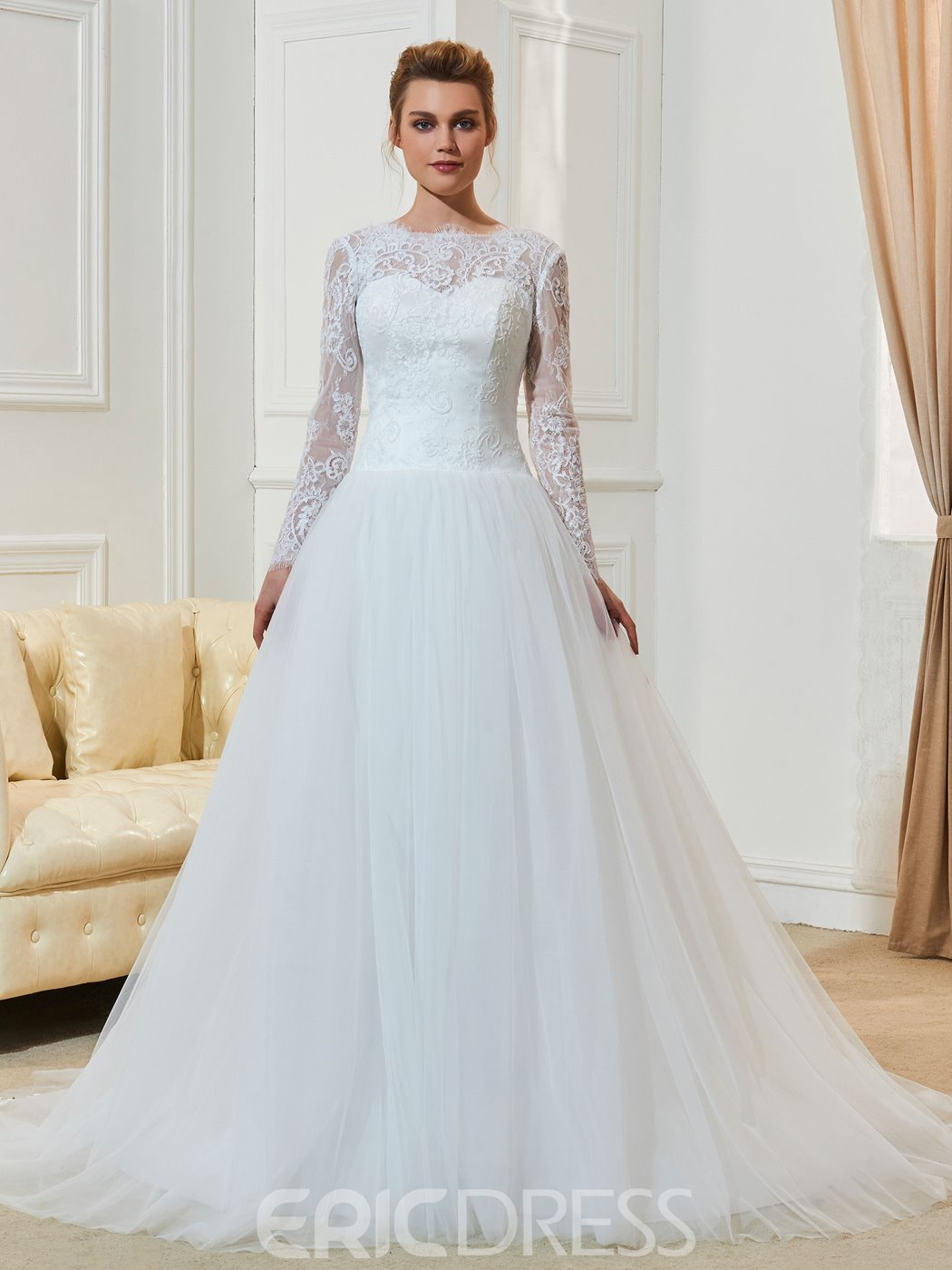 Ericdress A Line Long Sleeves Jewel Neckline Beaded Wedding Dress