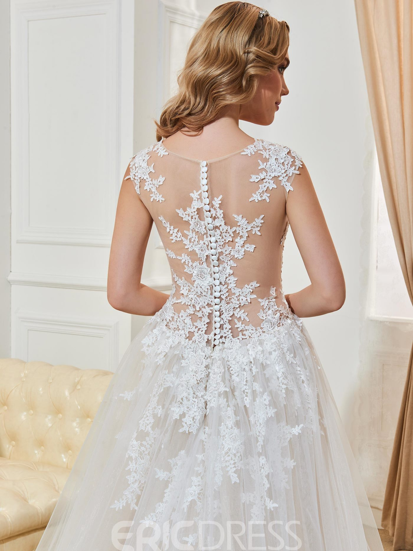 Ericdress Backless A Line Sexy Illusion Neckline Appliques Wedding Dress