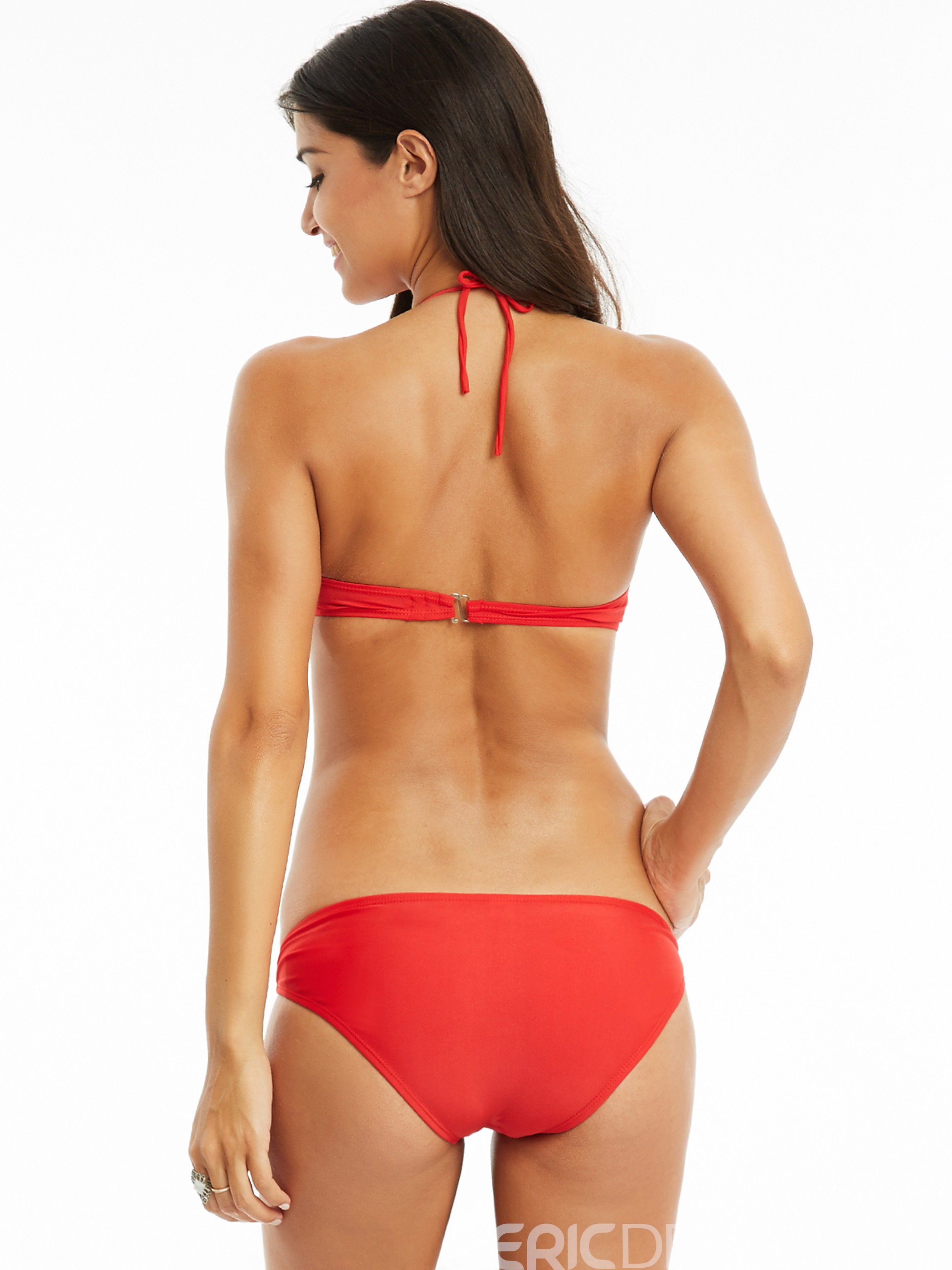 Ericdress Unique Hollow Grid Red Bikini Set