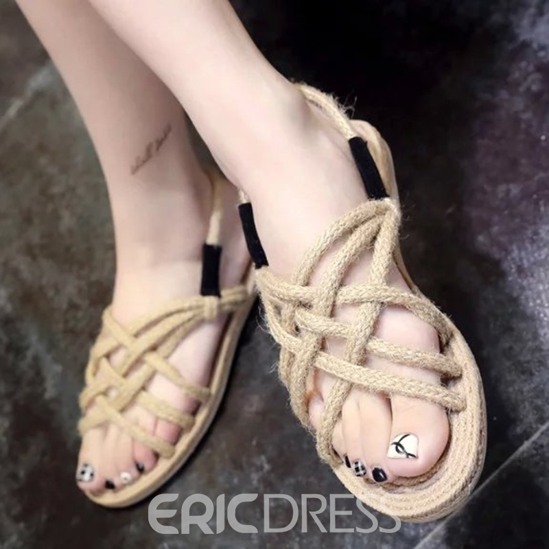 Ericdress Ethnic Kintting Cross Strap Flat Sandals