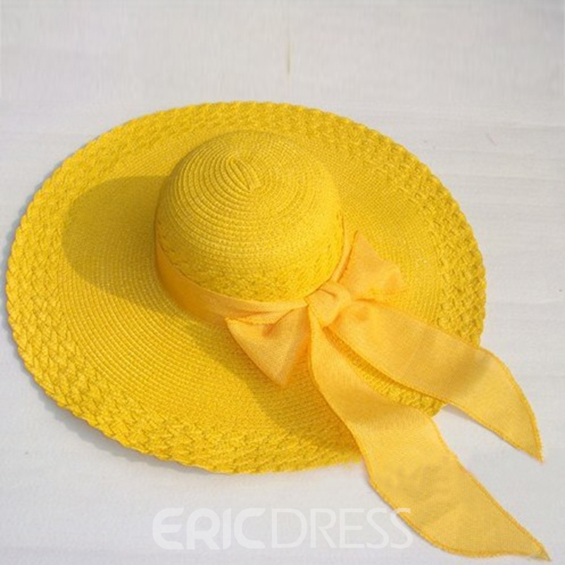 Ericdress Bowknot Beach Pure Color Sun Hat
