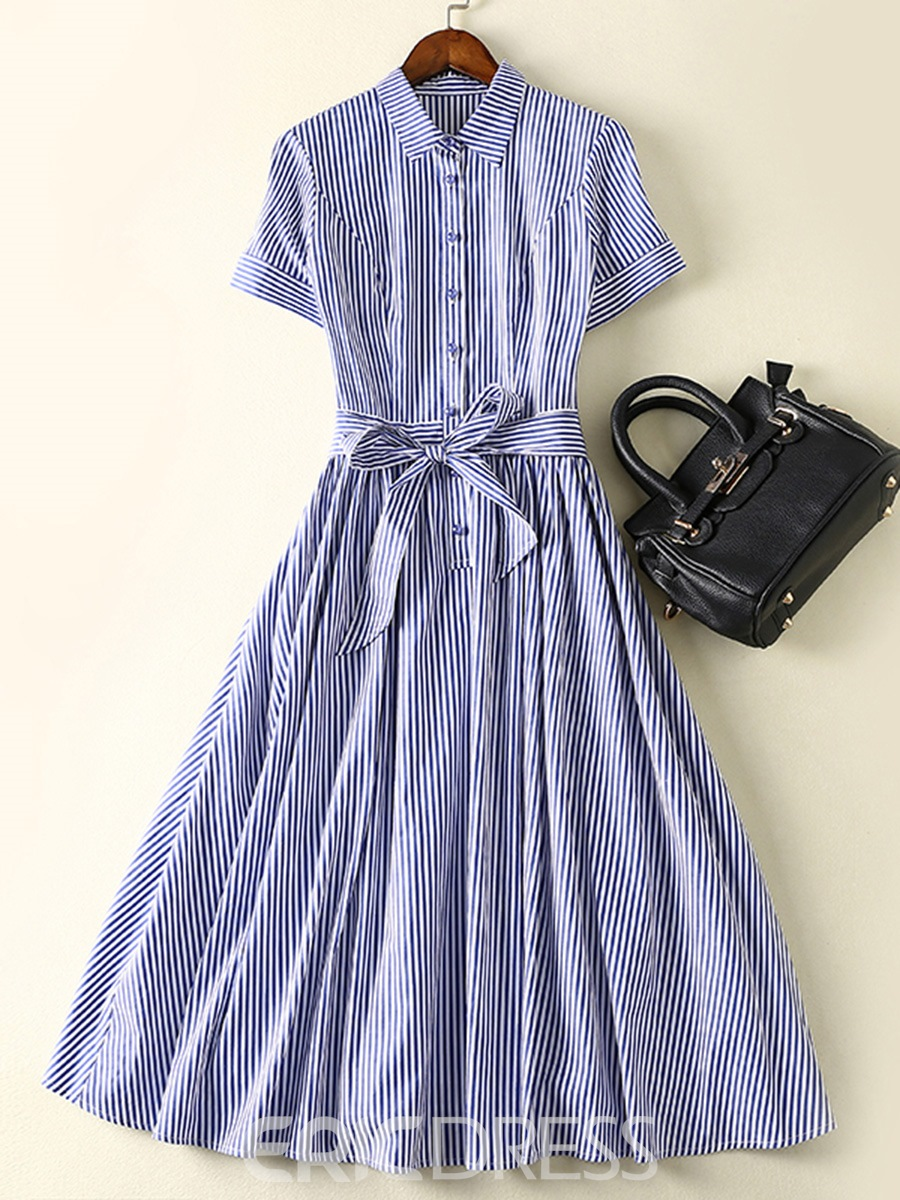 Ericdress Vertical Striped Single-Breasted Bowknot A Line Dress