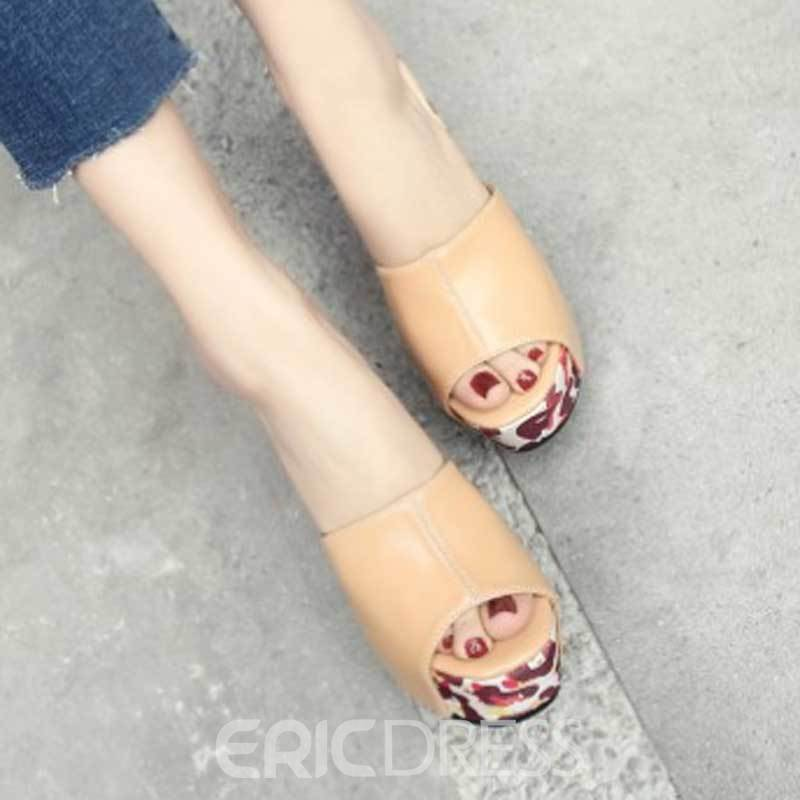 Ericdress Floral Print Peep Toe Chunky Mules Shoes