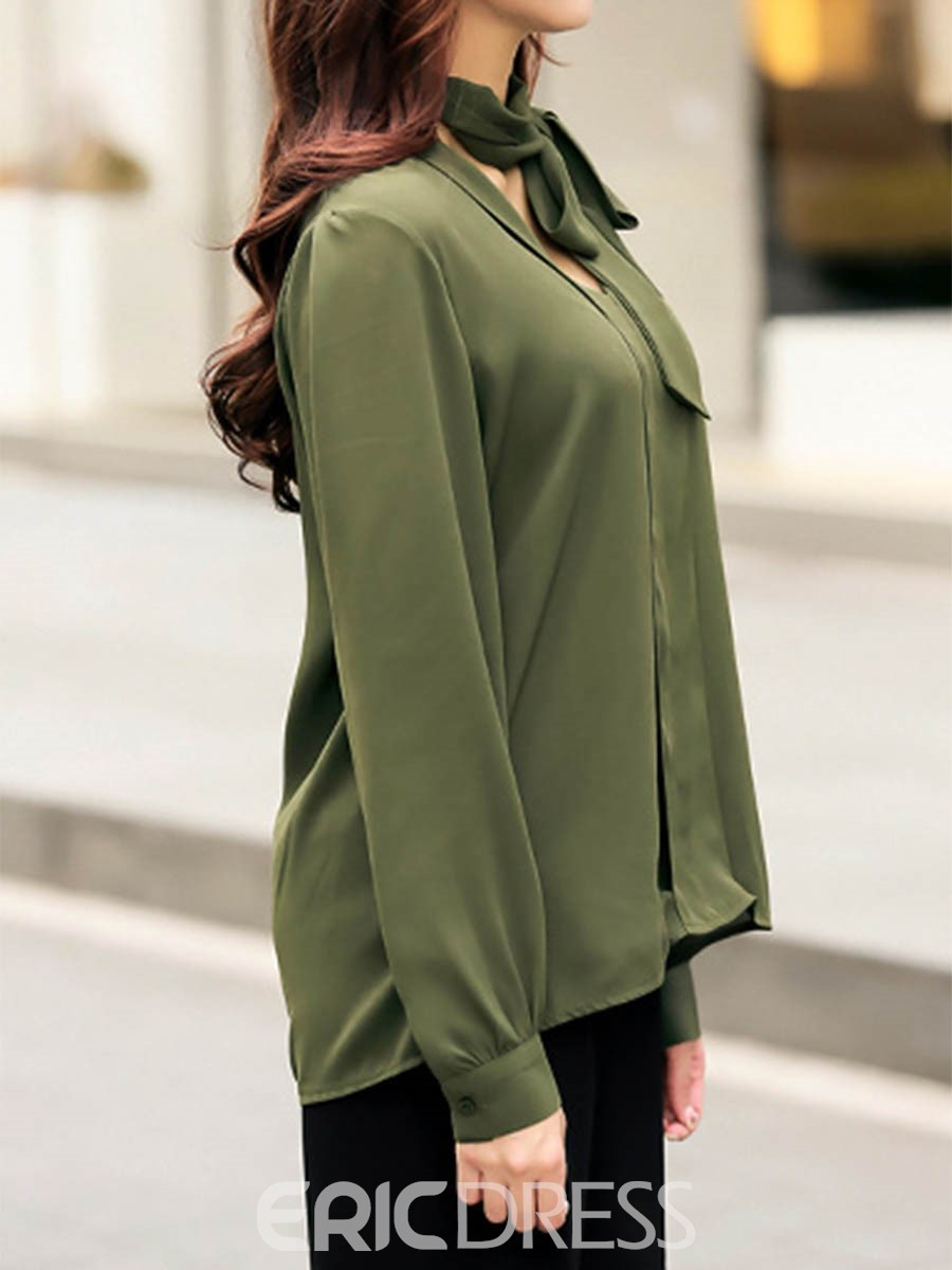 Ericdress Lace Up Loose Solid Color Blouse