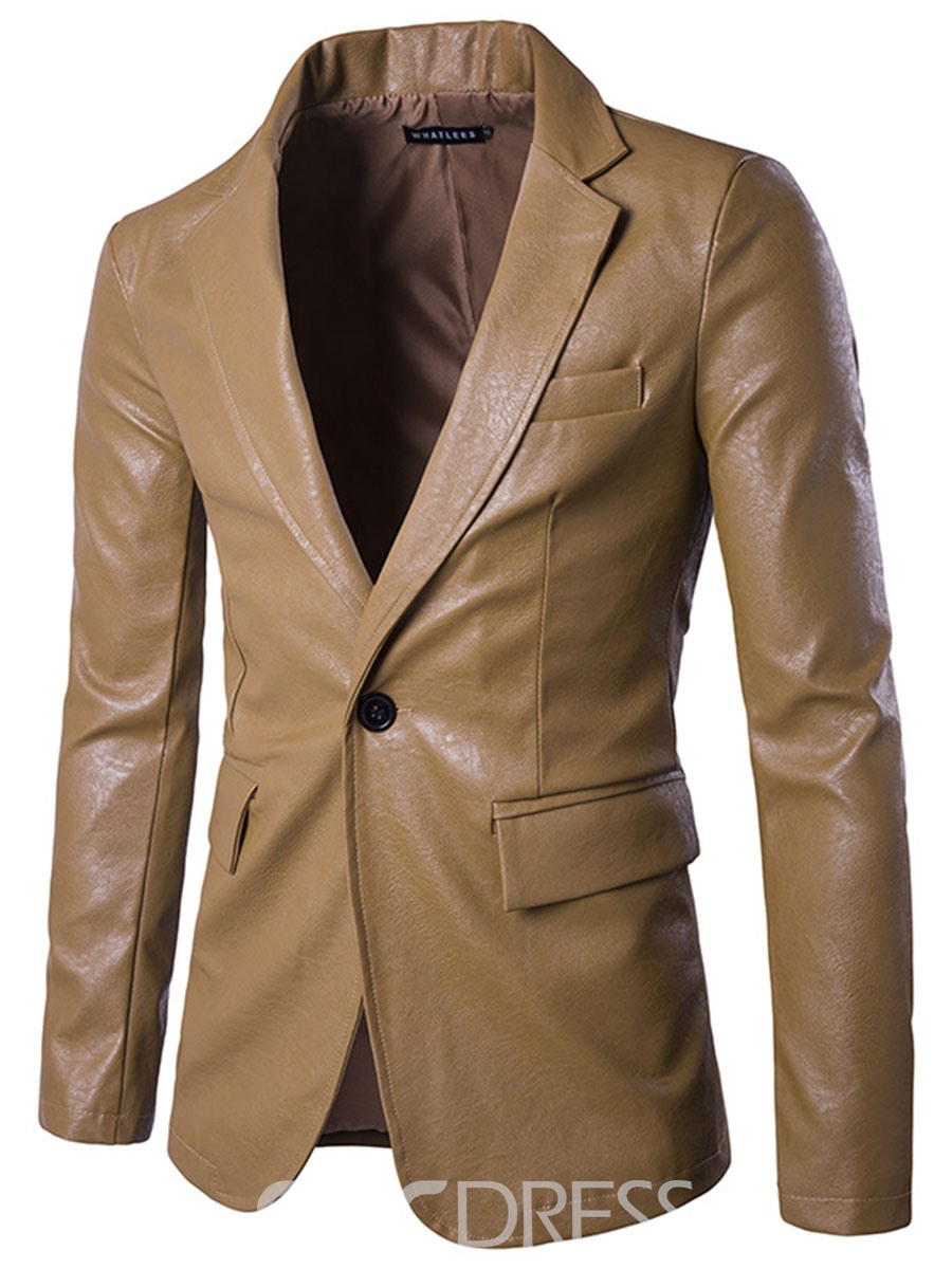 Ericdress One Button Vogue PU Slim Men's Blazer