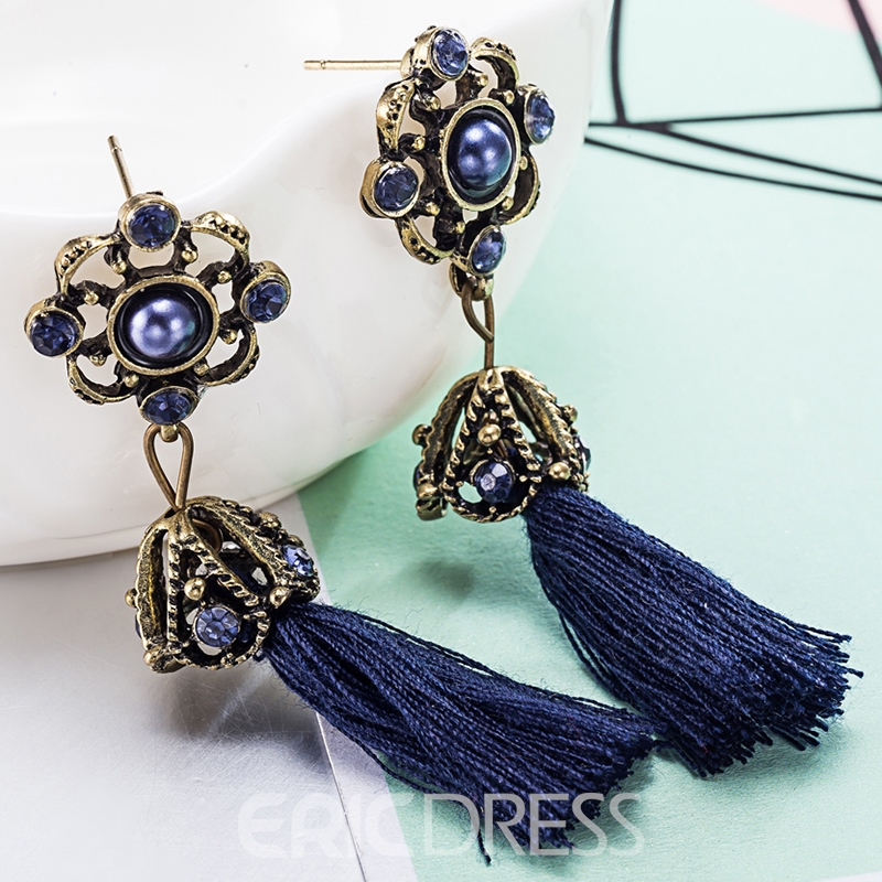 Ericdress Long Alloy Diamante Blue Tassels Retro Earrings
