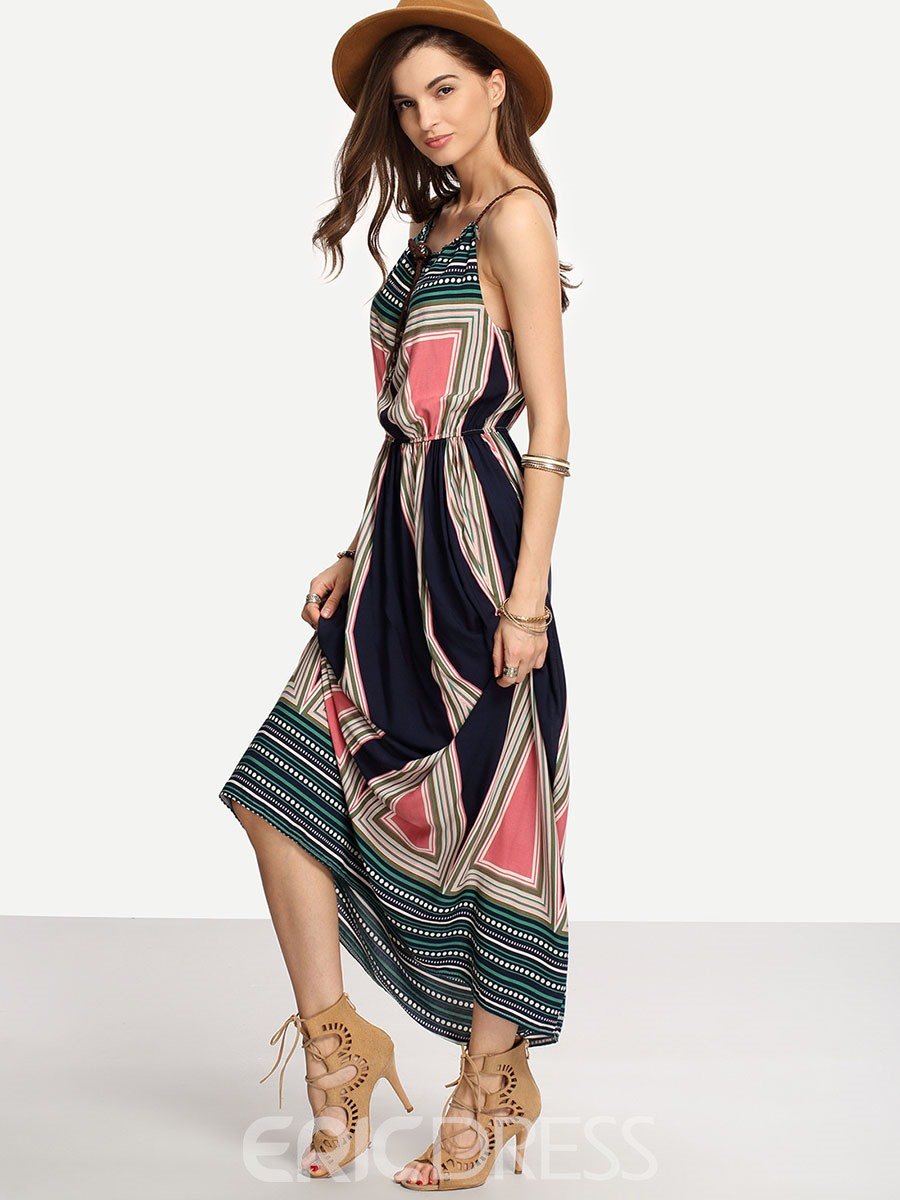 Ericdress Geometric Spaghetti Strap Maxi Dress