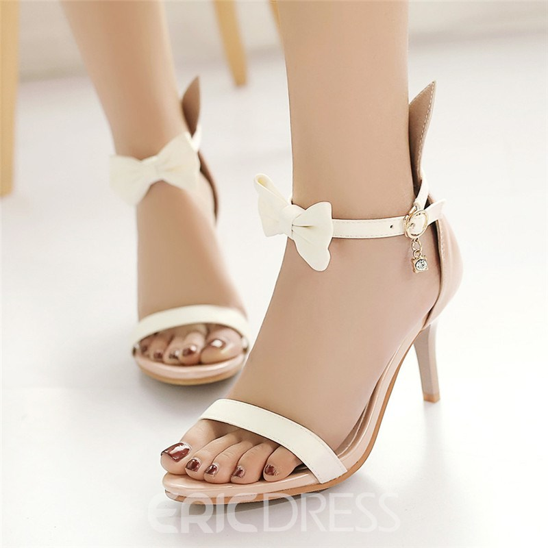 Ericdress Sweet Double Bowtie Open Toe Stiletto Sandals
