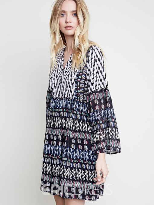 Ericdress Houndstooth Print Button Loose Casual Dress