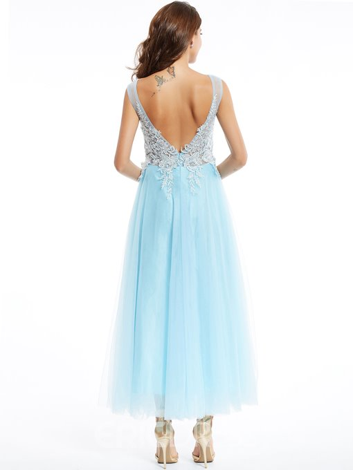 Ericdress A Line Zipper-Up Appliques Evening Dress