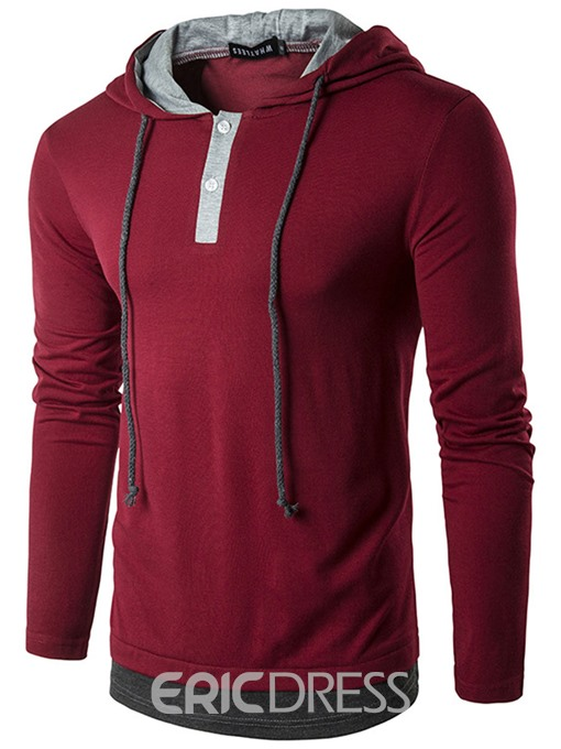 Ericdress Patchwork Hood Casual Men's T-Shirt