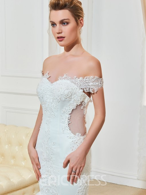 Ericdress Off The Shoulder Appliques Mermaid Wedding Dress