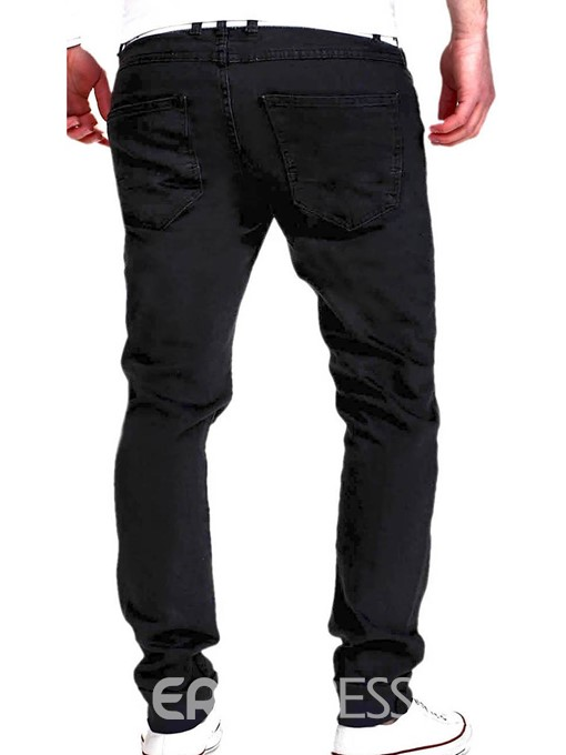 Ericdress Plain Holes Worn Casual Slim Men's Pants