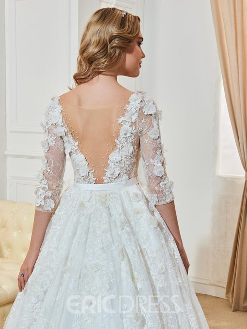 Ericdress High Quality V Neck Lace Ball Gown Wedding Dress With Sleeves