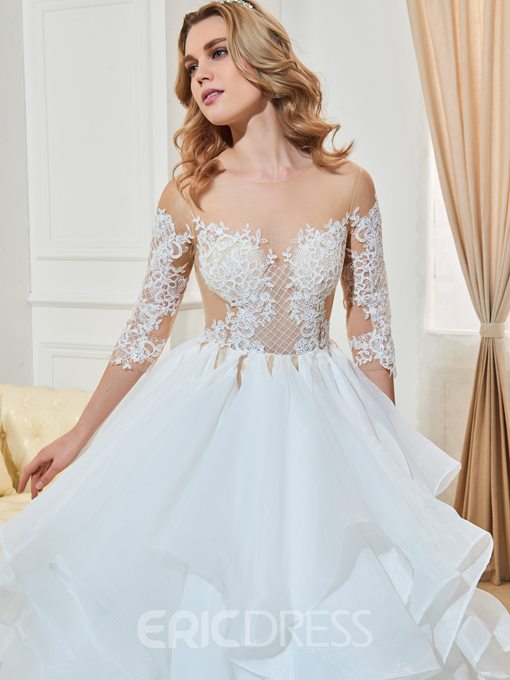Ericdress Illusion Neck Half Sleeves Ball Gown Wedding Dress