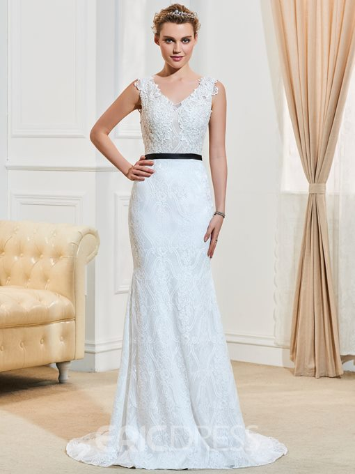 Ericdress Sexy V Neck Sweep Train Backless Mermaid Lace Wedding Dress