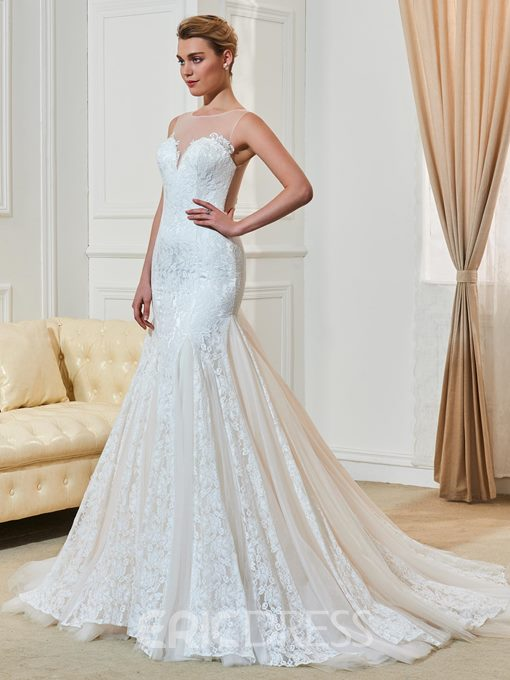 Ericdress Charming Scoop Illusion Back Lace Mermaid Wedding Dress