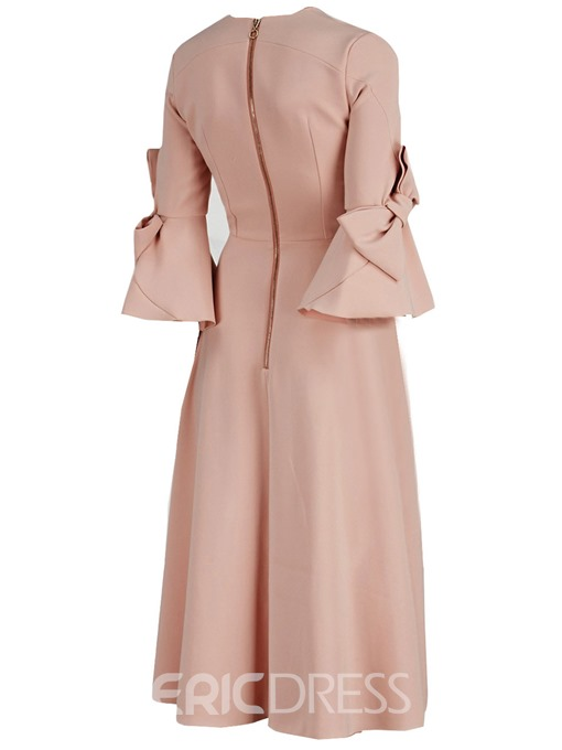 Ericdress Flare Sleeve Zipper Expansion A Line Dress