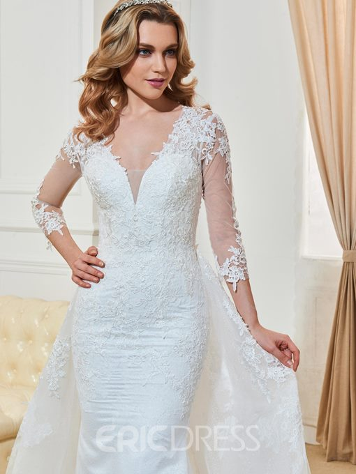 Ericdress Mermaid 3/4 Length Sleeves V Neck Wedding Dress