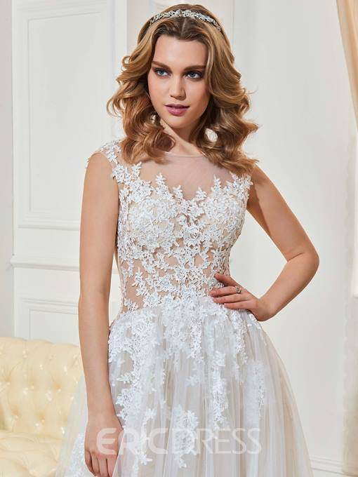 Ericdress Bateau Neck Button Appliques Wedding Dress