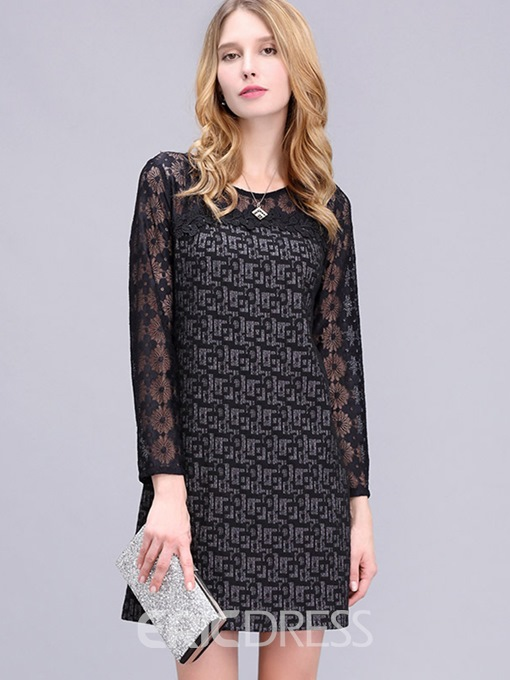Ericdress Print Lace Patchwork A Line Dress