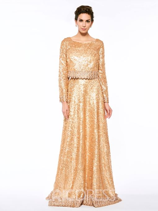 Ericdress 2 Pieces Sequins Long Sleeves Mother Of The Bride Dress