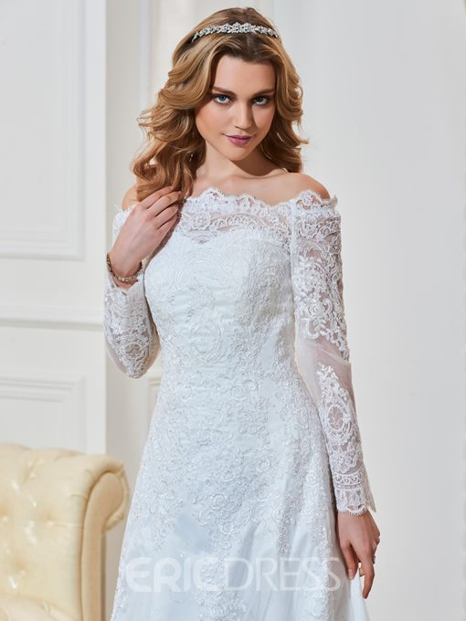Ericdress Off The Shoulder Appliques Long Sleeves Wedding Dress