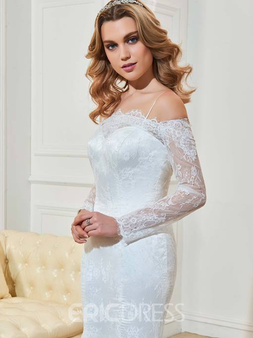 Elegant Off The Shoulder Long Sleeves Mermaid Lace Wedding Dress
