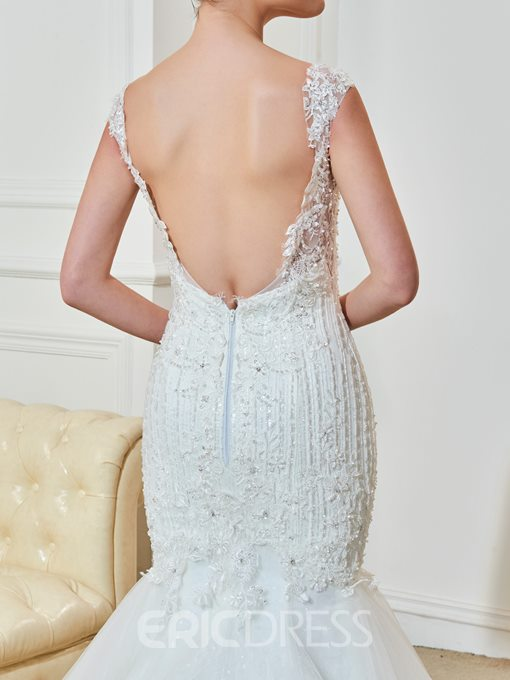 Ericdress Classic Appliques Beaded Straps Backless Mermaid Wedding Dress