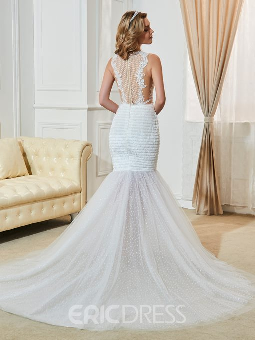 Ericdress Sexy Illusion Neckline Appliques Mermaid Wedding Dress