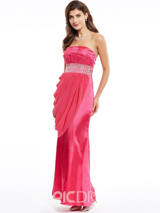 Ericdress Strapless Sheath Beading Lace Evening Dress
