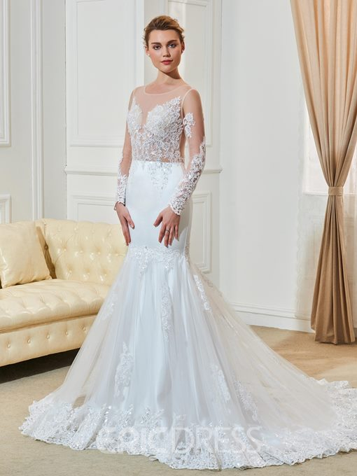 Ericdress Scoop Mermaid Long Sleeves Wedding With Appliques